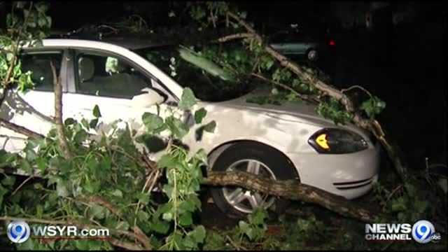 News video: Raw Video: Overnight storm damage in Liverpool 5-21-13